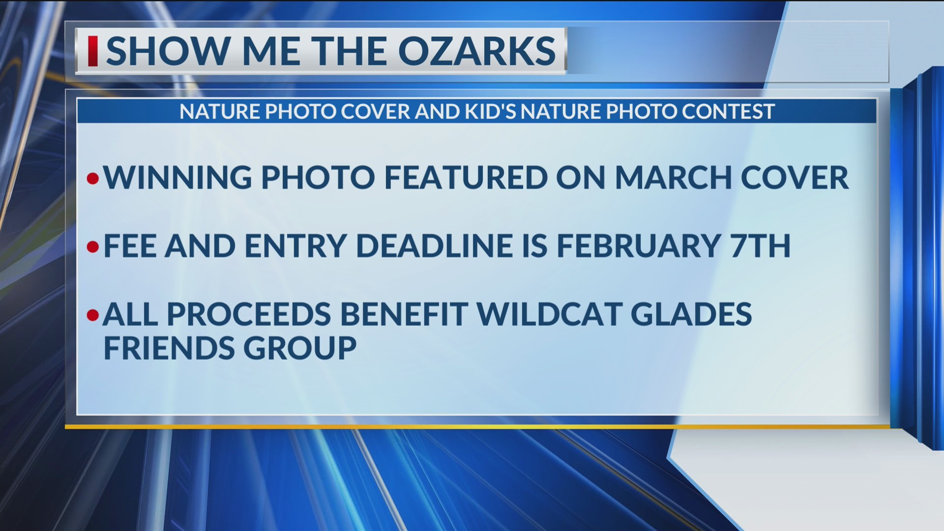 Show Me the Ozarks magazine accepting entries for