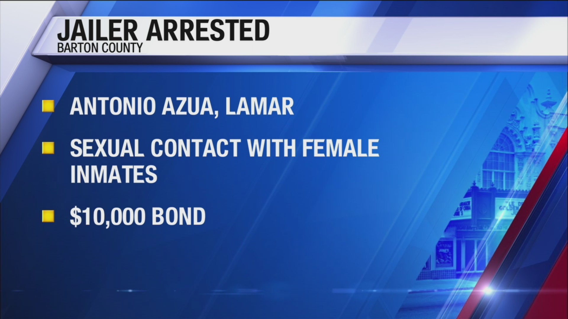 Barton county jailer arrested for sexual contact with inmates