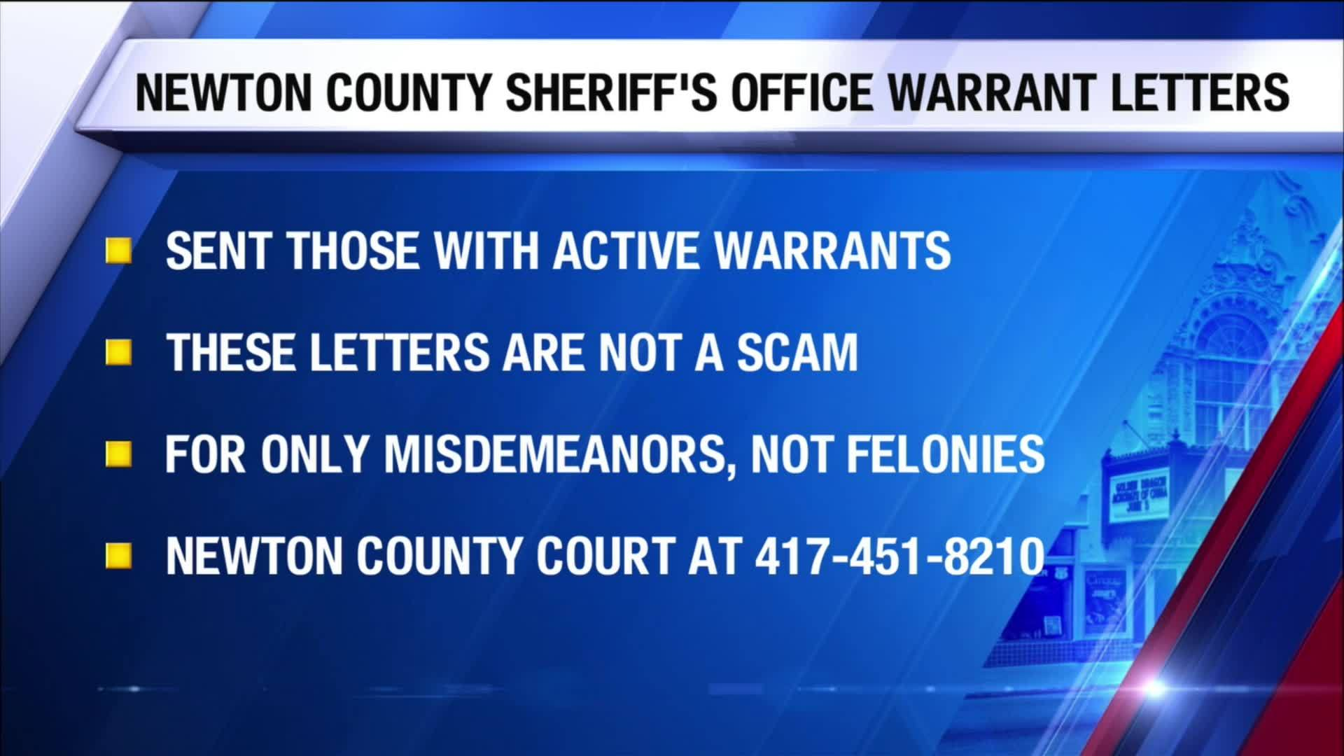 Newton County Sheriff's Office Warrant Letters