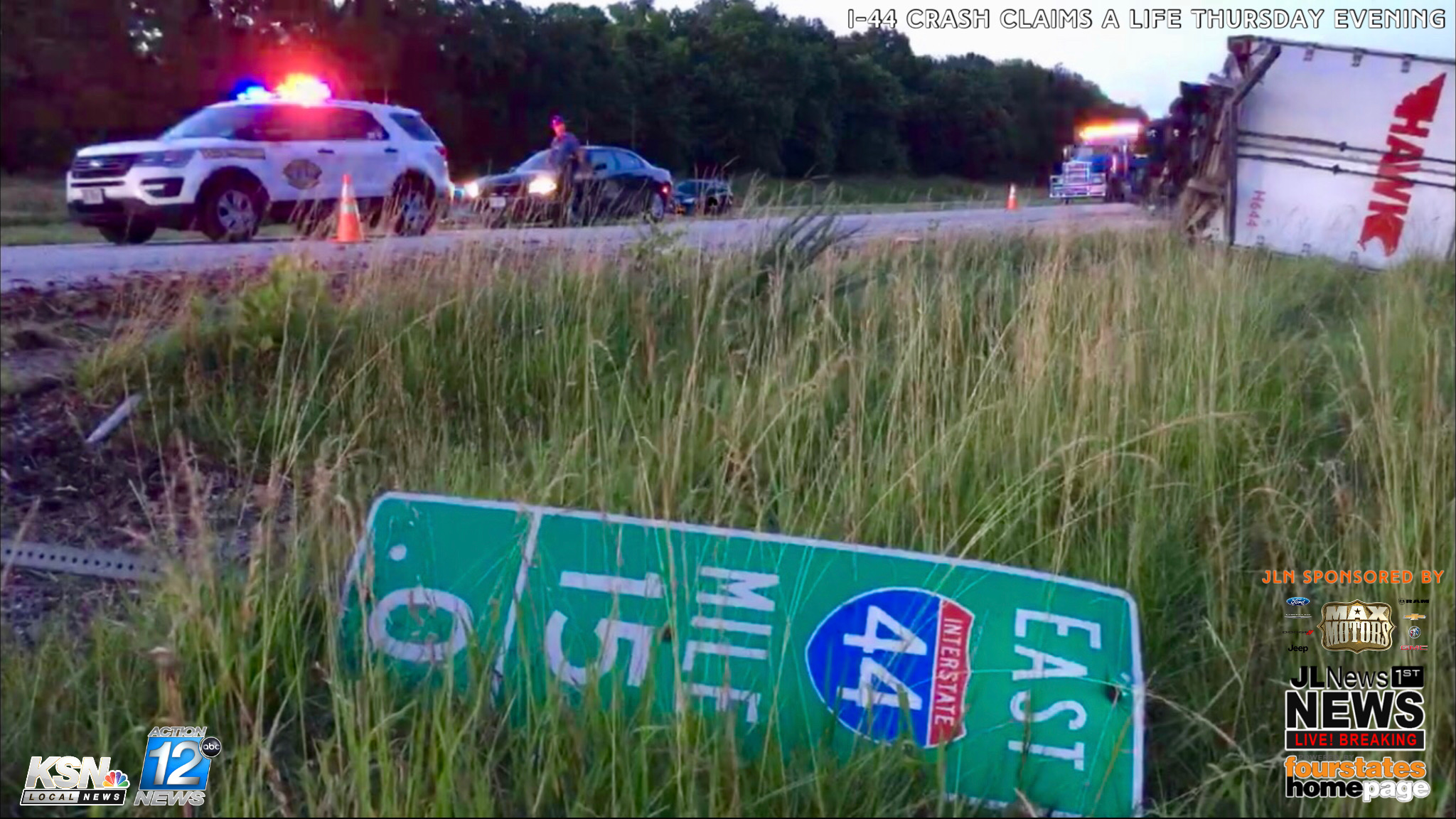 Fatality crash closes I-44 as two semis collide and one tanker