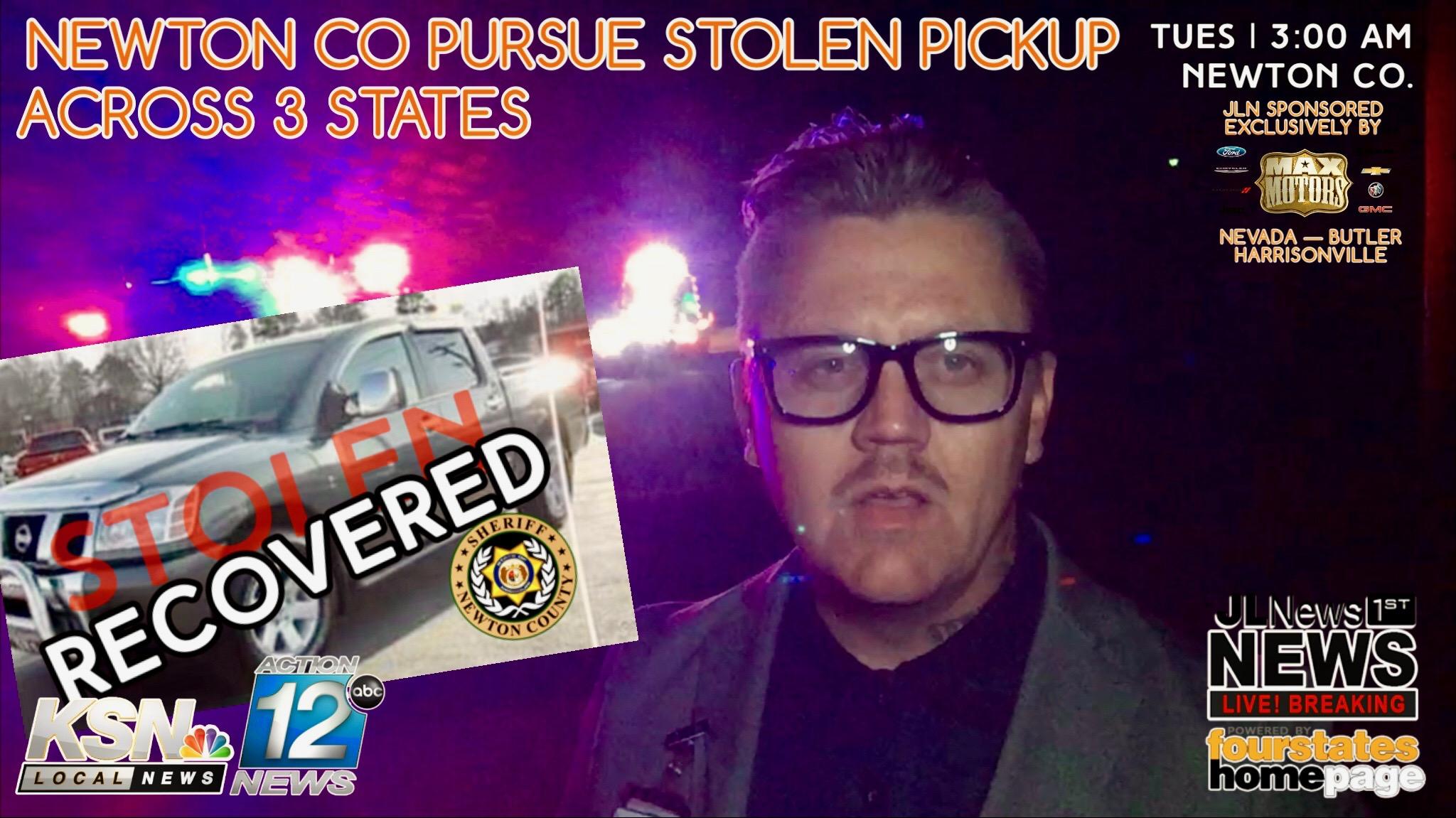 BREAKING: Police Pursue Stolen Pickup Overnight Across 3
