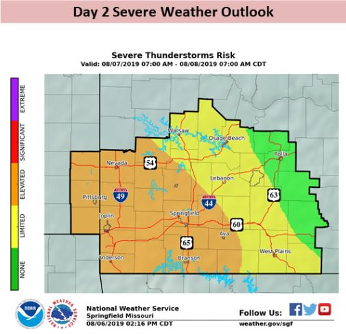 An Elevated Risk of Severe Weather issued for Wednesday