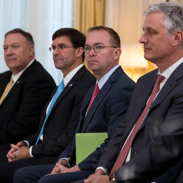 Mike Pompeo, Mark Esper, Mick Mulvaney, Robert C. O'Brien, Jared Kushner