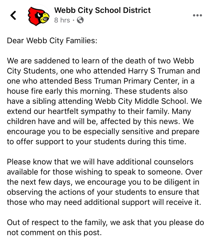 The Webb City Schools offer counseling support from professionals in a social media update.