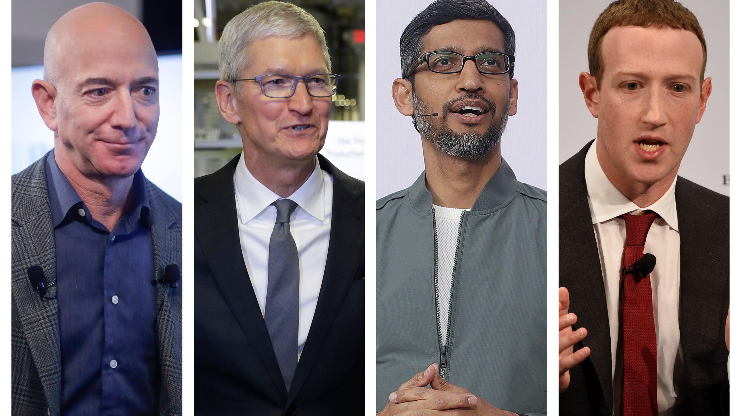 Amazon CEO Jeff Bezos, Apple CEO Tim Cook, Google CEO Sundar Pichai and Facebook CEO Mark Zuckerberg