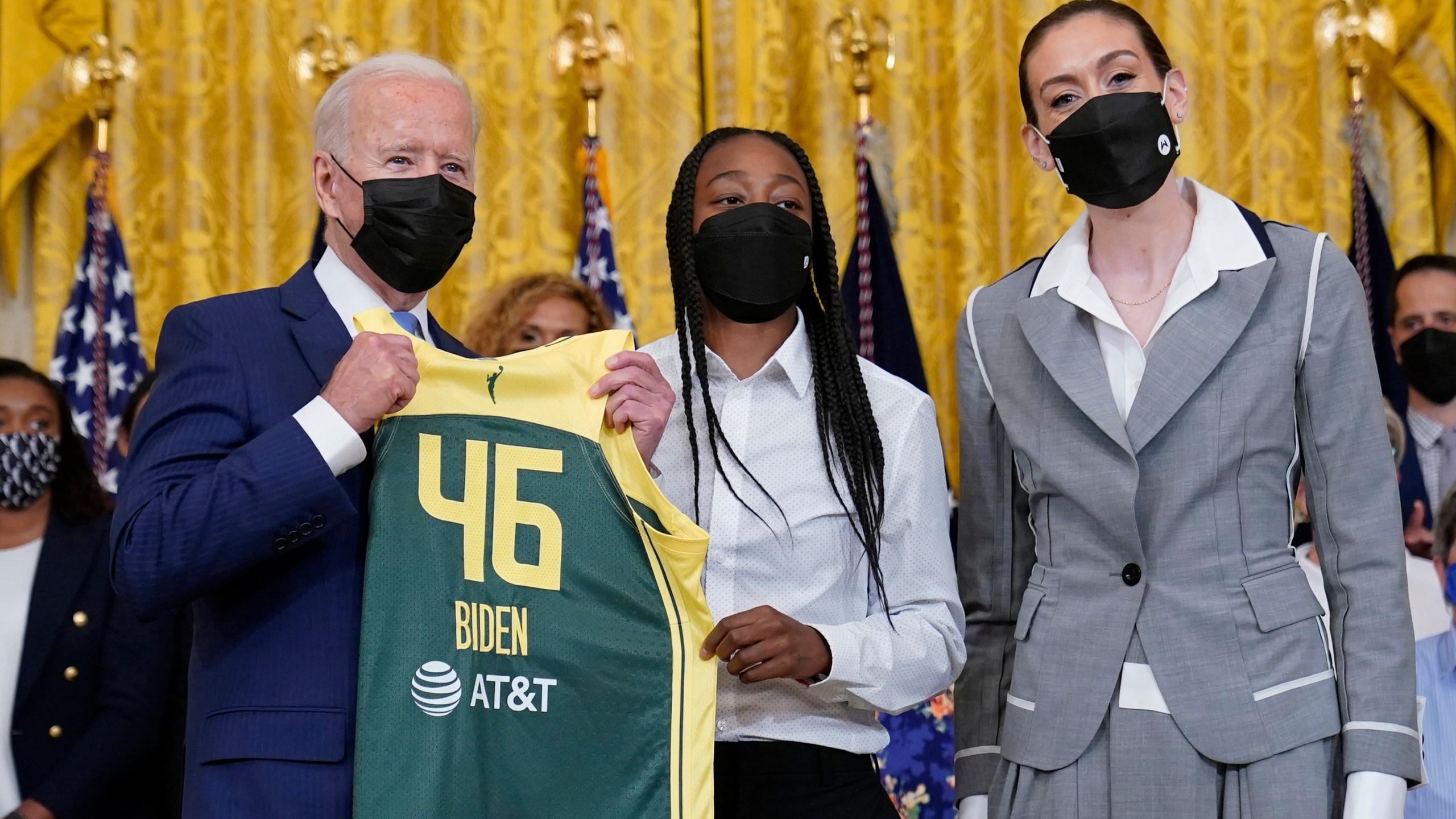 Joe Biden, Breanna Stewart, Jewell Loyd